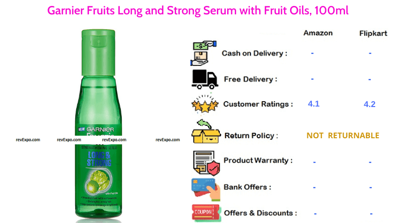 Garnier Fruits Hair Serum Long & Strong with Fruit Oils in 100ml Quantity