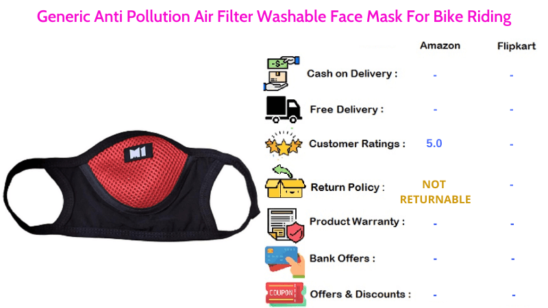 Generic Face Mask with Anti Pollution Air Filter Washable For Bike Riding