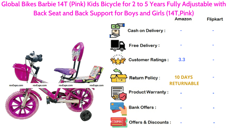 Global Bikes Barbie 14T Bicycle for Kids with Fully Adjustable Back Seat & Back Support for 2 to 5 Years Old Boys and Girls