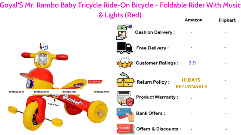 Goyal'S Mr. Rambo Tricycle for Kids Foldable Rider with Music & Lights Ride-On Bicycle