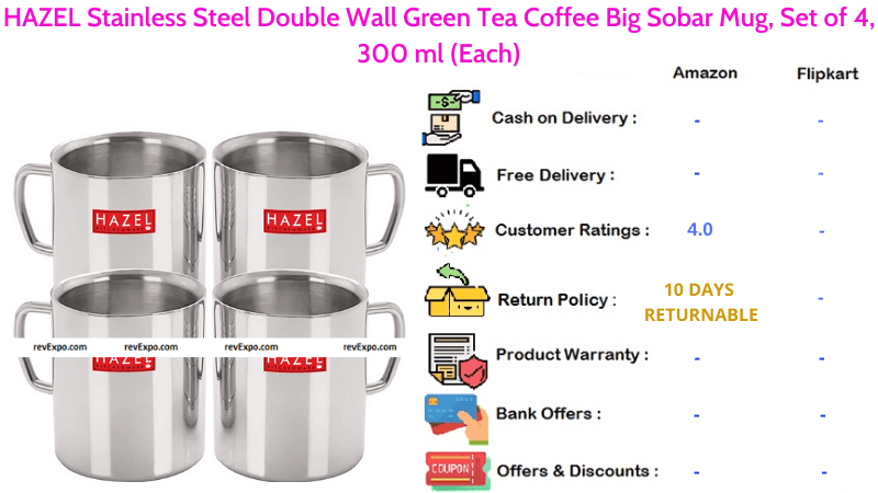 HAZEL Tea Cup Set with Stainless Steel Double Wall for Green Tea or Coffee Set of 4 Big Sobar Mug