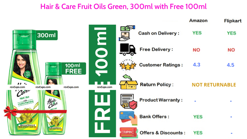 Hair & Care Hair Oil with Fruit Oils Green in 300ml & 100ml Combo Pack
