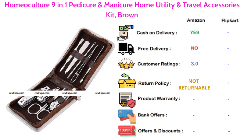 Homeoculture Pedicure Kit with 9 in 1 Manicure Home Utility & Travel Accessories Kit