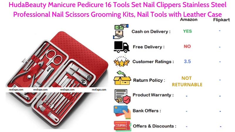 HudaBeauty Pedicure Kit 16 Manicure Tools Set with Stainless Steel Professional Nail Scissors, Nail Tools, Nail Clippers Grooming Kits & Leather Case