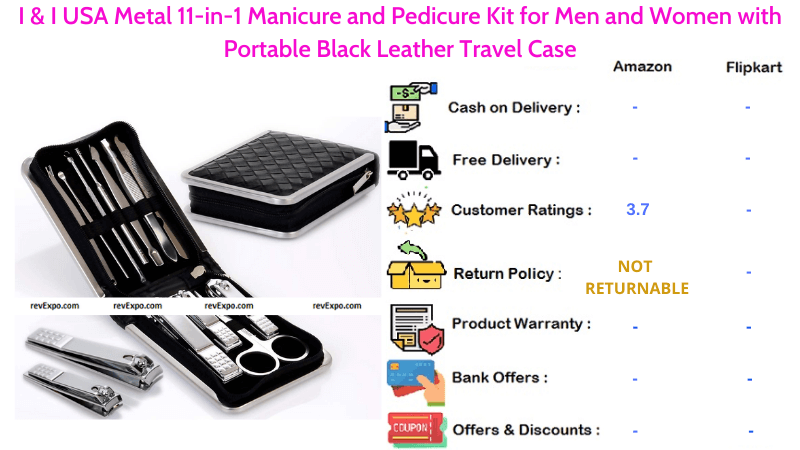 I & I USA Pedicure Kit with Metal 11-in-1 Manicure Set & Portable Black Leather Travel Case for Men and Women
