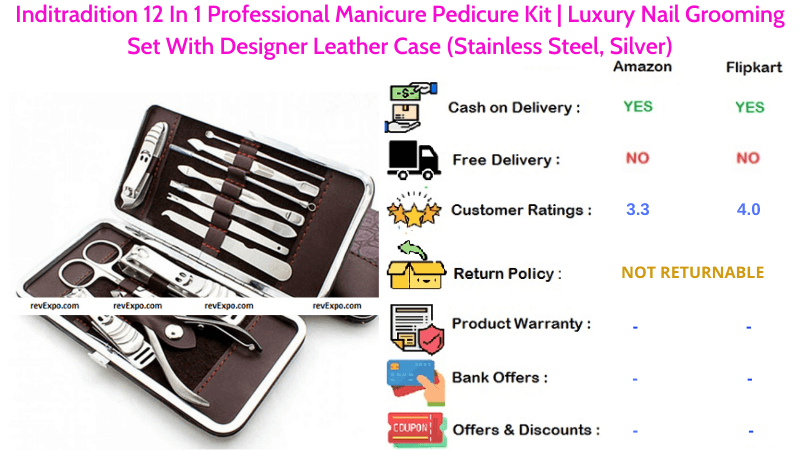 Inditradition Pedicure Kit 12 In 1 Professional Luxury Nail Grooming Manicure Set With Designer Leather Case