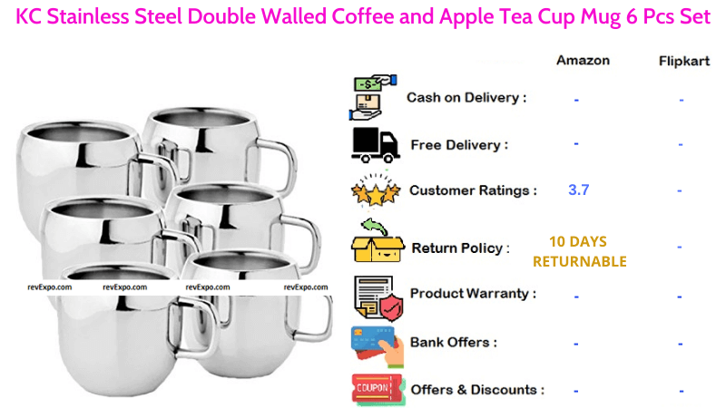 KC Tea Cups with Stainless Steel Double Walled for Tea & Coffee 6 Pcs Set