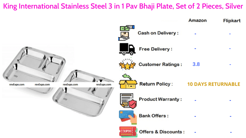 King International Steel Plate with Stainless Steel Material 3 in 1 Pav Bhaji Plate Set of 2 Pieces