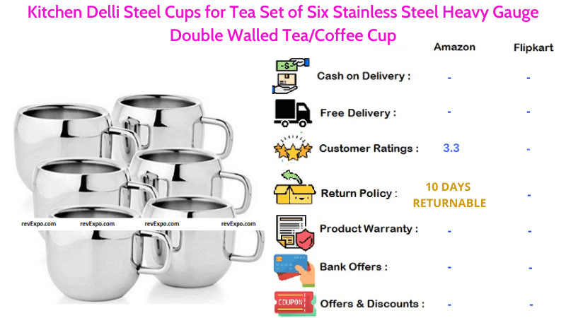 Kitchen Delli Tea Cup Set of Six Stainless Steel Heavy Gauge Double Walled Cups for Tea or Coffee