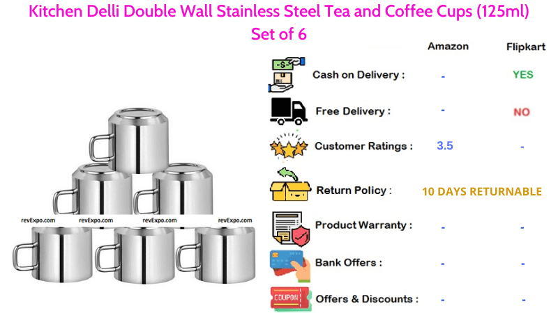 Kitchen Delli Tea Cup Set with Double Wall Stainless Steel Set of 6
