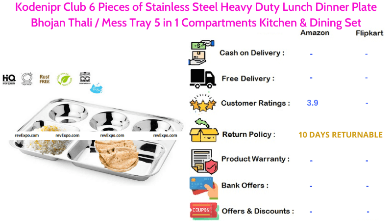 Kodenipr Club Steel Plate with 6 Pieces of Stainless Steel Heavy Duty for Lunch, Dinner, Bhojan Thali Mess Tray 5 in 1 Compartments Kitchen & Dining Set