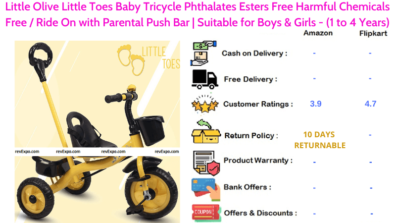 Little Olive Little Toes Tricycle for Kids with Phthalates Esters Free Harmful Chemicals Free Ride On & Parental Push Bar Suitable for 1 to 4 Years