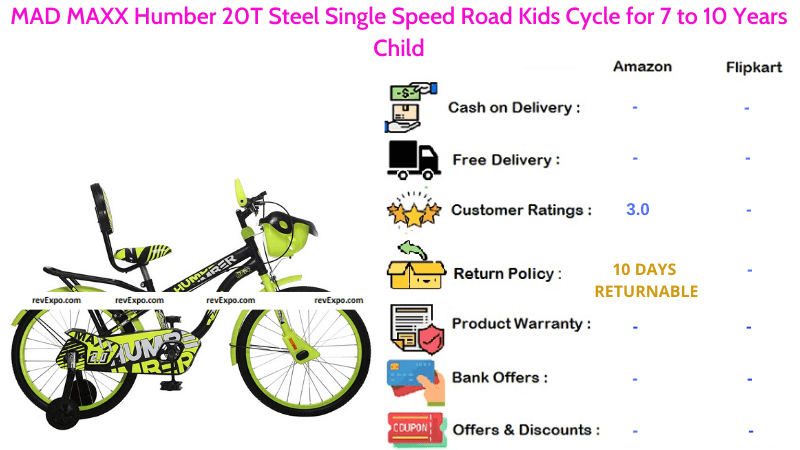 MAD MAXX Bicycle for Kids with Humber 20T Steel Single Speed Road Cycle for 7 to 10 Years Child