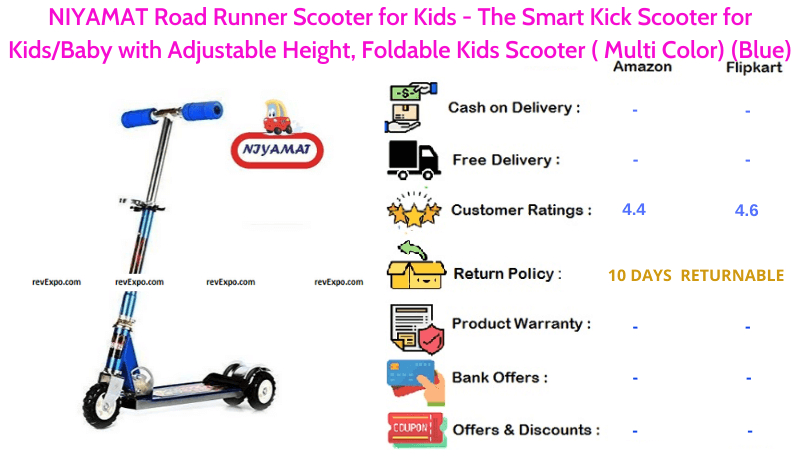 NIYAMAT Kids Scooter Road Runner for Kids or Baby with Adjustable Height & Foldable