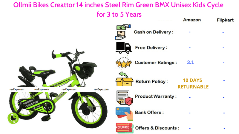Ollmii Bicycle for Kids with 14 inches Steel Rim Green BMX Unisex for 3 to 5 Years