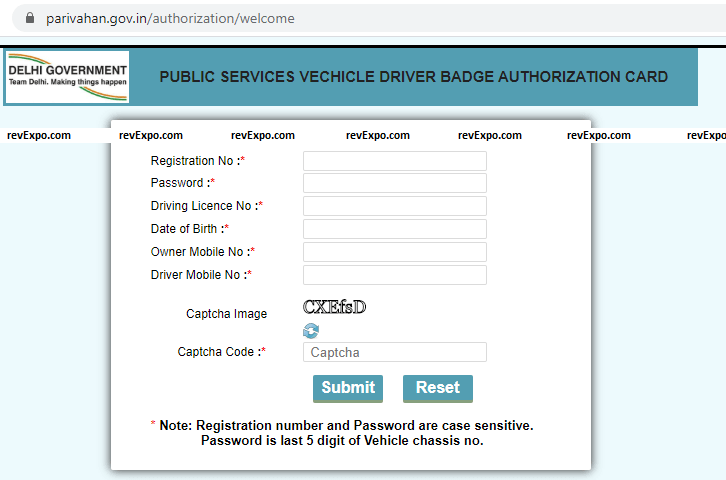PUBLIC SERVICES VECHICLE DRIVER BADGE AUTHORIZATION CARD