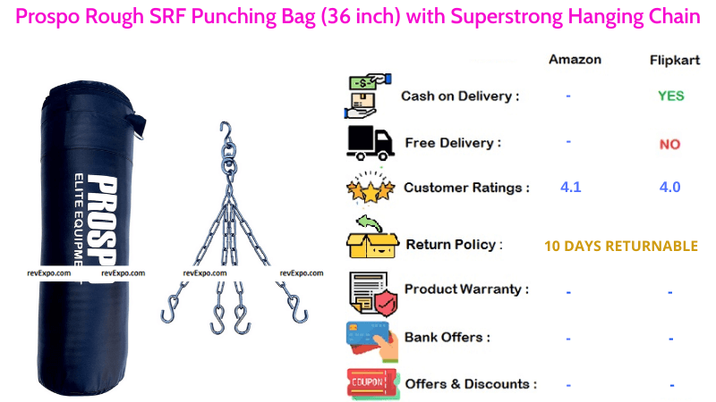 Prospo Rough Punching Bag with SRF Material 36 Inches & Superstrong Hanging Chain
