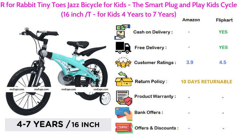 R for Rabbit Tiny Toes Jazz Bicycle for Kids 16 inches Smart Plug & Play Kids Cycle for 4 Years to 7 Years Kids