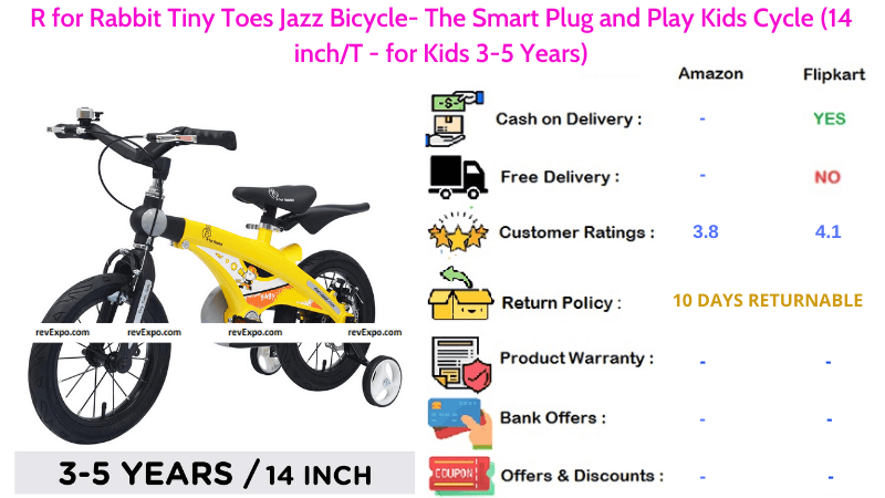 R for Rabbit Tiny Toes Jazz Bicycle for Kids with Smart Plug & Play and 14 inches Cycle for 3-5 Years Kids