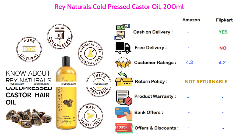Rey Naturals Hair Oil Cold Pressed Castor Oil with 200ml Quantity
