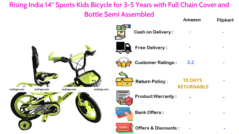 Rising India Bicycle for Kids with Full Chain Cover & Bottle Semi Assembled 14 Inches Sports Bike for 3-5 Years