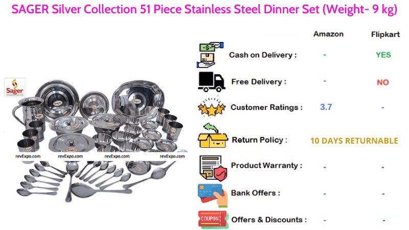 SAGER Silver Dinner Set Collection of 51 Stainless Steel Pieces