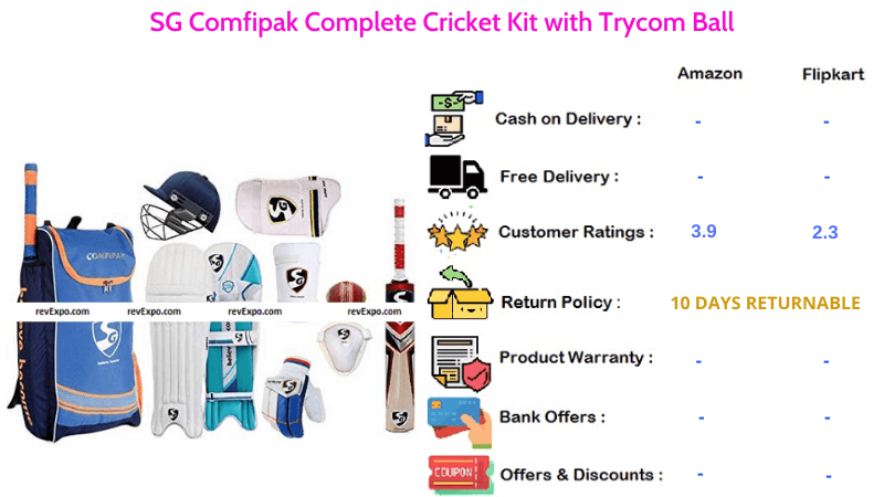 SG Comfipak Cricket Kit Complete Combo with Trycom Ball