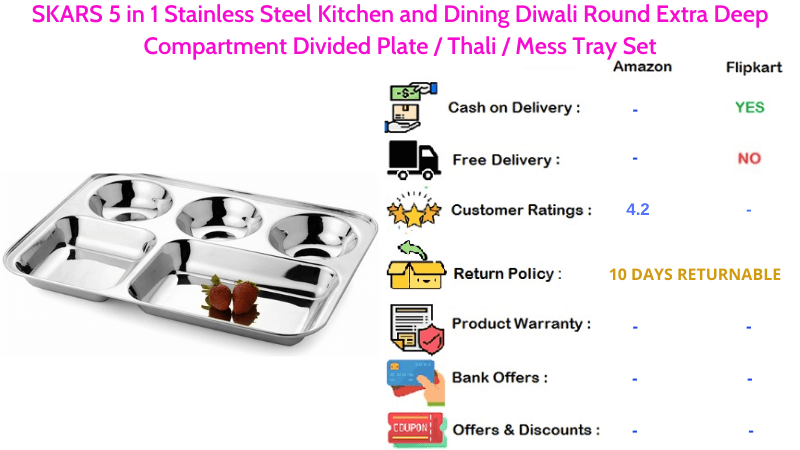 SKARS 5 in 1 Stainless Steel Plate for Kitchen & Dining with Extra Deep Compartment Diwali Round Divided Plate Mess Tray Set