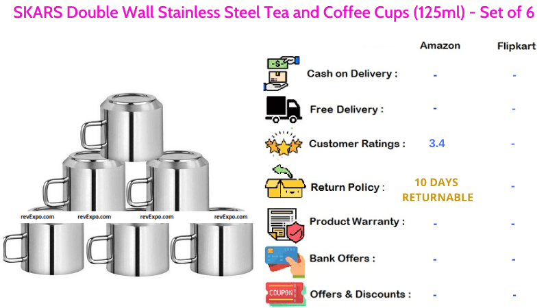 SKARS Tea Cups with Double Wall Stainless Steel for Tea and Coffee Set of 6 Pieces