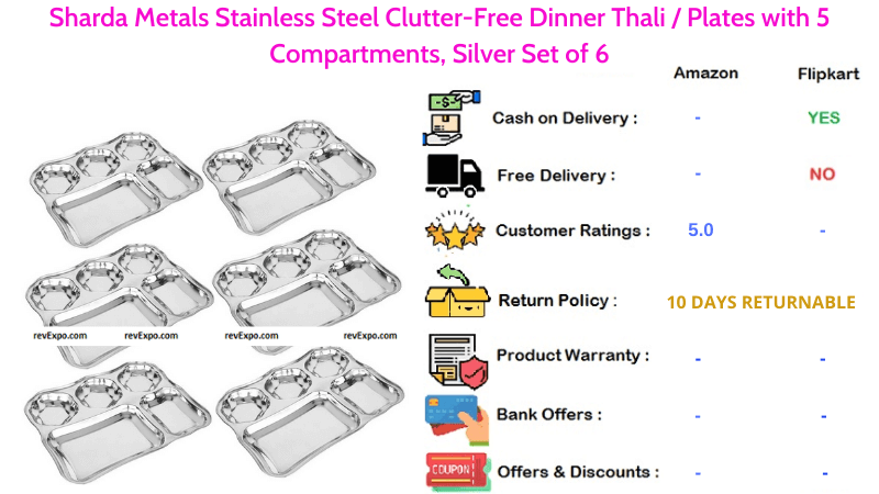 Sharda Metals Dinner Plates Stainless Steel Clutter-Free Silver Set of 6 with 5 Compartments