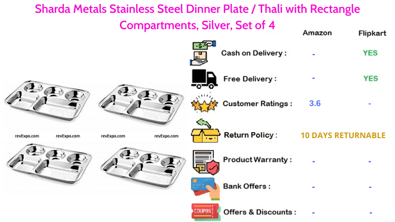Sharda Metals Stainless Steel Plate for Dinner or Thali with Rectangle Compartments, Set of 4 Plates