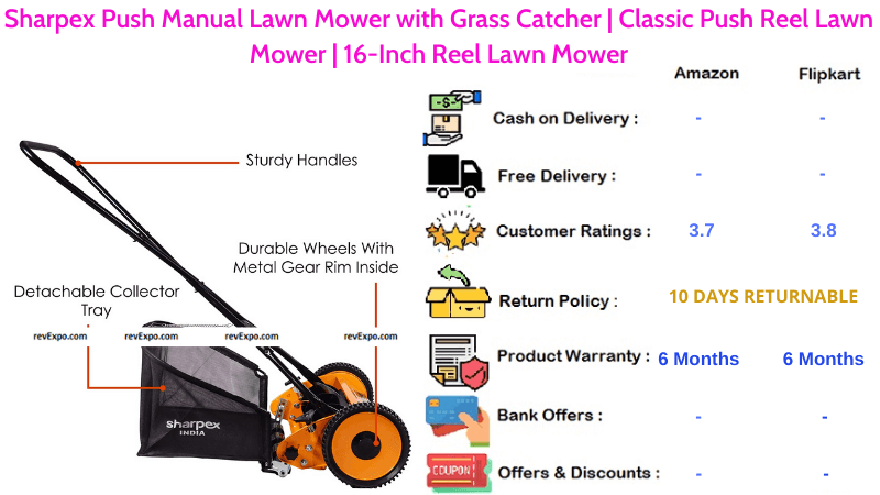 Sharpex Push Manual Lawn Mower 16-Inch Reel with Classic Push Reel & Grass Catcher