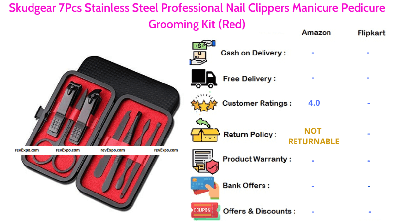 Skudgear Pedicure Grooming Kit with 7 Pcs Manicure Stainless Steel Professional Nail Clippers