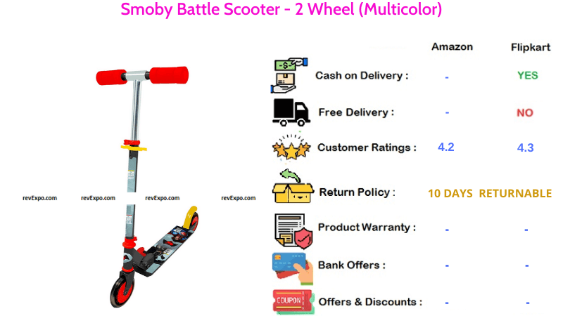 Smoby Battle Kids Scooter with 2 Wheels & Multicolor