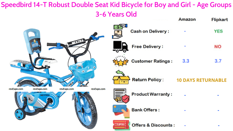 Speedbird Bicycle for Kids with 14-T Robust Double Seat for Boy and Girl & Age Groups 3-6 Years Old