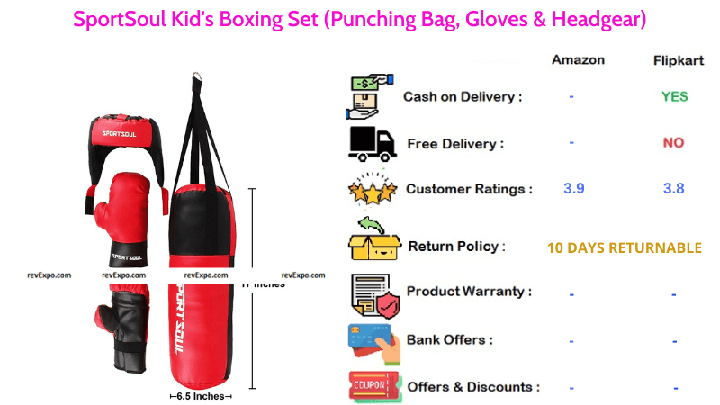 SportSoul Boxing Set for Kids with Punching Bag, Headgear & Gloves