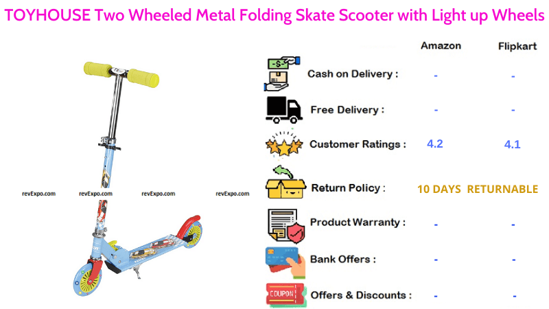 TOYHOUSE Kids Scooter with Two Wheels & Metal Folding Skate