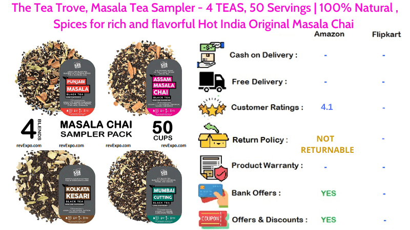 The Tea Trove Masala Tea Sampler with 4 TEAS, 100% Natural Spices for rich & flavorful Hot India Masala Chai