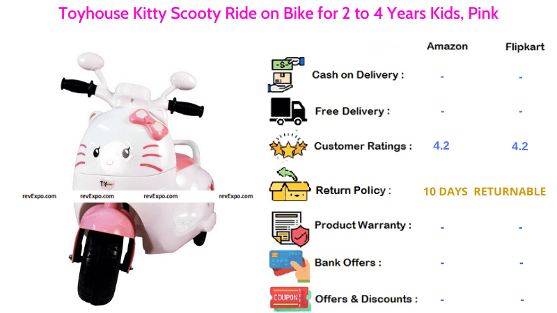 Toyhouse Kitty Kids Scooter for 2 to 4 Years Kids Scooty Ride on Bike