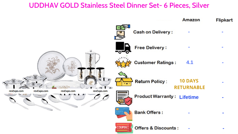 UDDHAV GOLD Dinner Set Stainless Steel Silver Set of 51 Pieces