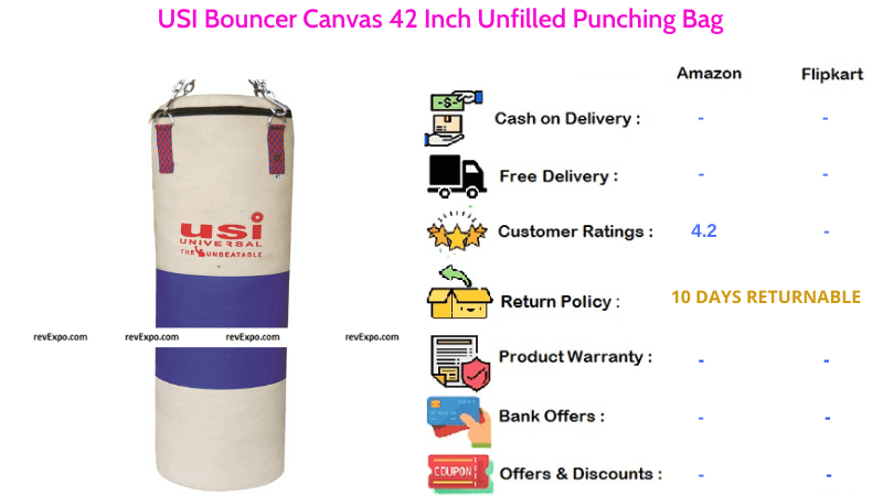 USI Punching Bag 42 Inch Unfilled with Bouncer Canvas Material
