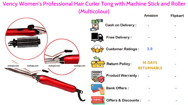 Vency Professional Hair Curler Tong with Roller & Machine Stick