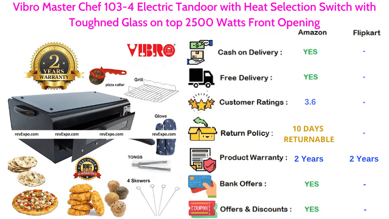 Vibro Master Chef Electric Tandoor with 2500 Watts Power, Front Opening, Heat Selection Switch & Toughned Glass on Top