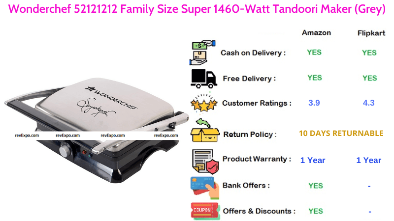 Wonderchef Electric Tandoor Maker with Family Size Super & 1460 Watts Power