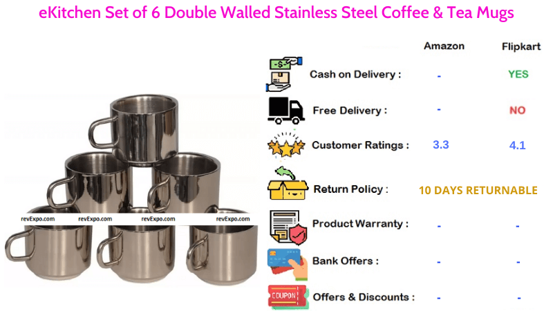 eKitchen Tea Cups with Double Walled Stainless Steel for Coffee & Tea Set of 6