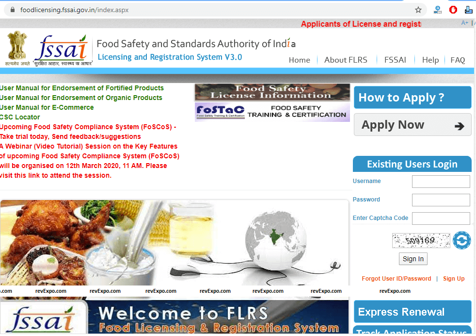 foodlicensing fssai home page