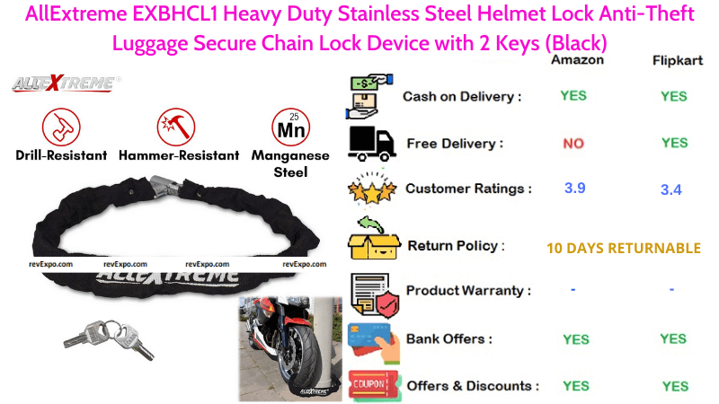 AllExtreme Helmet Lock EXBHCL1 with Heavy Duty Stainless Steel Material Anti-Theft Luggage Secure Chain Lock Device with 2 Keys