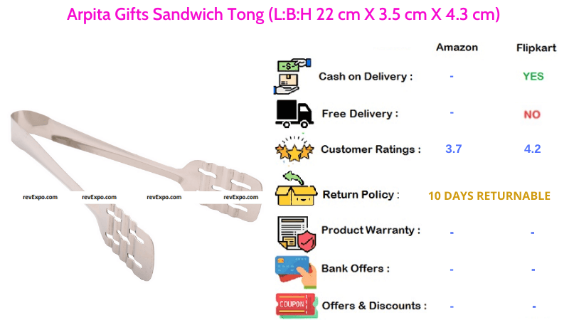 Arpita Gifts Sandwich Tong with 22 cm X 3.5 cm X 4.3 cm Dimensions