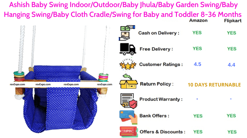 Ashish Baby Swing Indoor or Outdoor Jhula Garden Hanging Cloth Cradle & Toddler for 8-36 Months Babies