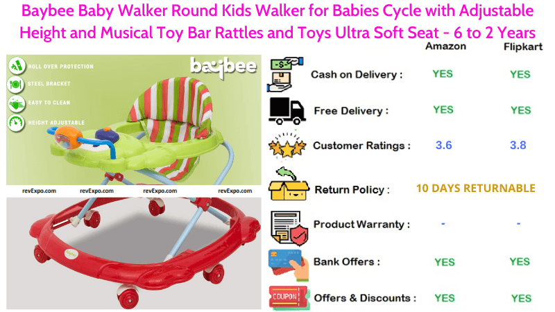 Baybee Baby Walker for Babies Cycle with Adjustable Height, Musical Toy Bar Rattles & Ultra Soft Seat 6 to 2 Years Round Kids Walker